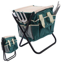 7 PCS Garden Tool Bag Set Folding Stool Tools Gardening Stainless Steel ... - $36.00