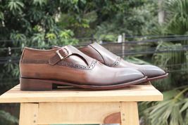 Handmade Men's Brown Monk Strap Leather Shoes image 1