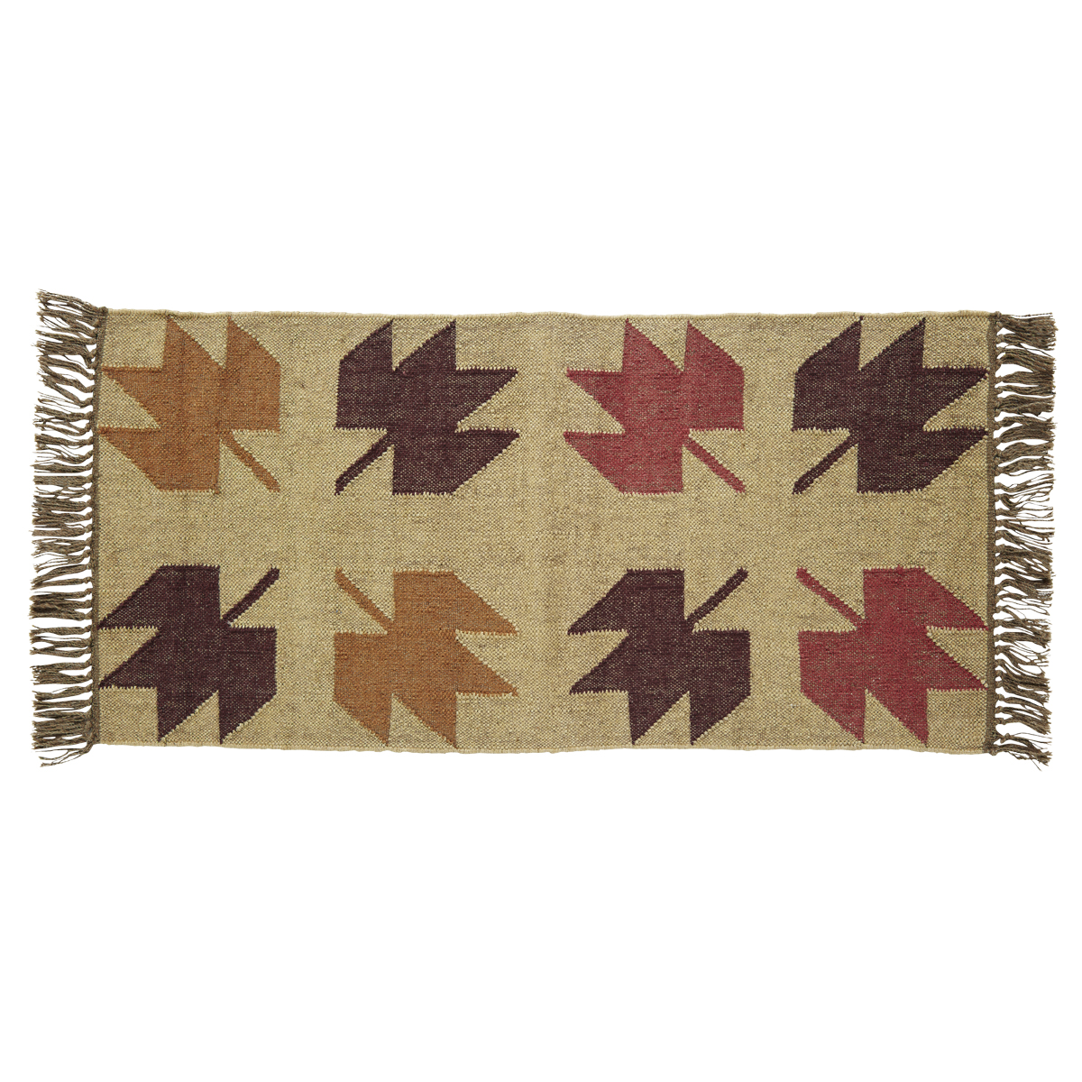 BRADDOCK Kilim Rug - 24x48 - Beige/Rust/Sable - Country Fall Leaves - VHC Brands