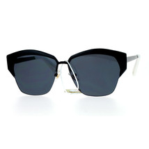 Womens Designer Sunglasses Half Rim Metal Top Trendy Flat Lens Shades - $12.95
