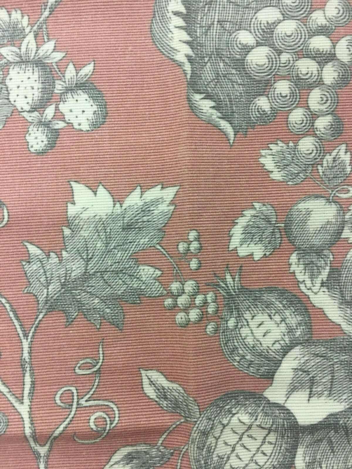 Braemore Pink Fruit and Floral Print Upholstery Drapery Fabric 2.125 yds