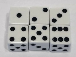 1984 - 1987 Axis & Allies Board Game Pieces - 6 White Dice - $7.83