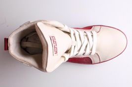 Heyday Mens Shift Classic Cream Cherry Red Leather Shoes Fashion Sneakers NIB image 6
