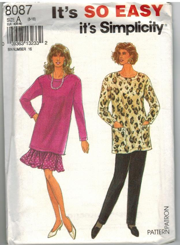 Simplicity Uncut Sewing Pattern #8087 Misses' Pants Skirt Tunic Size A (8 - 18)