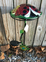 NEW Outdoor Garden Glass Mushroom Solar Light - Ladybug Flower - Red Yellow - $19.79