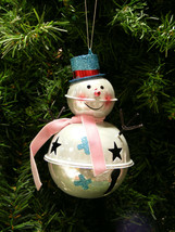 LARGE METAL JINGLE BELL SNOWMAN CHRISTMAS TREE ORNAMENT - $14.88