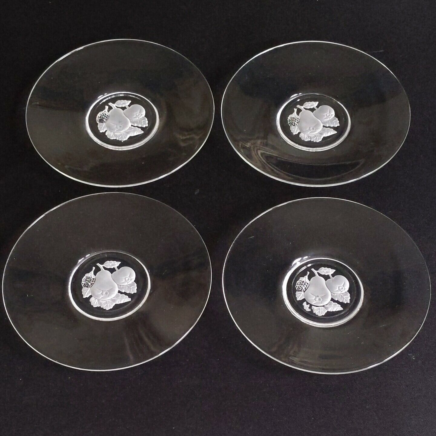 4 VAL ST LAMBERT BRUSSELS Intaglio Cut Crystal Bread & Butter Plates D/C-Signed