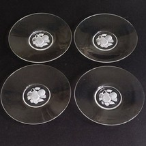 4 VAL ST LAMBERT BRUSSELS Intaglio Cut Crystal Bread & Butter Plates D/C... - $22.79