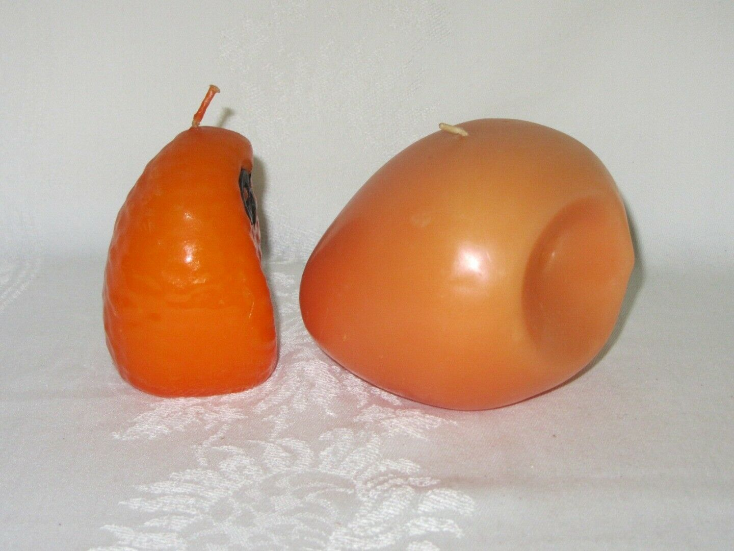 2 Vintage Orange Wax Candles Owl Shape Retro 70s W Germany
