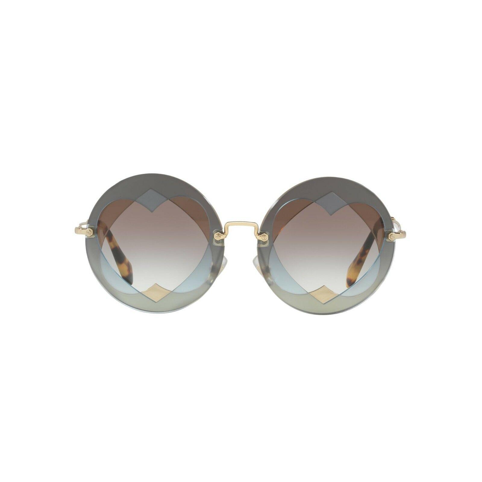 NEW MIU MIU Women's 01SS Layered Double Heart Round Sunglasses Azure/Hazelnut