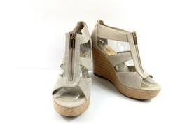 Michael Kors Women's Wedge Espadrilles Berkley Canvas Beige Zip Up Sandals Sz 9M - $39.42