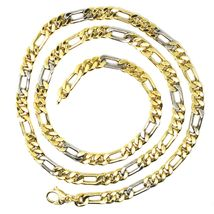 18K YELLOW WHITE GOLD CHAIN, BIG 6 MM FIGARO GOURMETTE ALTERNATE 3+1, 24 INCHES image 6