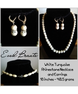 White Turquoise Rhinestone Necklace and Earrings - New! - $30.00