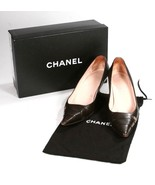 Authentic Chanel Dark Brown Leather Pumps Heels Shoes With Box & Dust Bag - $212.29