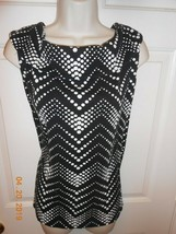 Cute Rafaella size 1X cowl collar Top Black & White EUC Adorable - $8.90