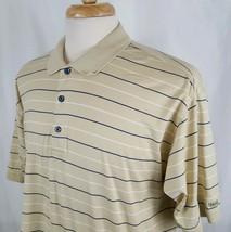 IZOD Polo Shirt Large Premium Cotton Short Sleeve Stripe Gold Navy Golf ... - $12.99