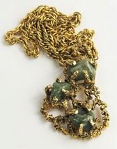 "24"" VINTAGE ESTATE Jewelry 1970's BRUTALIST JADE NUGGET PENDANT NECKLACE  - $75.00"