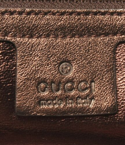 Auth Gucci Guccissima Hand Bag Brown Leather Zipper Inner Pocket Pouch G455