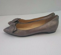 Ivanka Trump Womens Benny Silver Metallic Leather Bow Ballet Flats Size 7 - $11.88