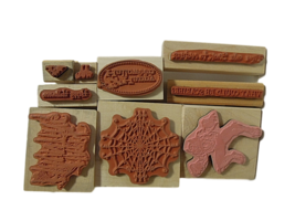 Halloween Stamps - NEW - Set of 9 Different Stamps Mounted on Wood image 2