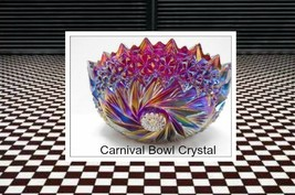 Hypnotic Vtg Carnival Bowl Dazzling with Hand Carved Peaks! Lighted Disp... - $210.03