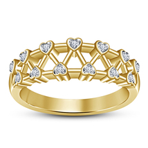 Round Cut Sim Diamond 18k Yellow Gold Plated Pure 925 Silver Wedding Ban... - $73.99