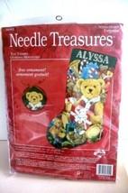RARE NEEDLEPOINT KIT Alyssa Teddy Bear Sock & Ornament NEEDLE TREASURES - $143.55