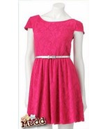Mudd Juniors Fuschia Pink Lace Skater Dress L 9-11 does not include belt - $29.99