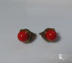 Vintage Signed CN Red Cabochon & Multi-Color Crystal Dome Style Earrings - $54.45