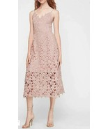 New Express Truffle Pink Floral Lace Spaghetti Strap Mini Lined Midi Dre... - $69.29