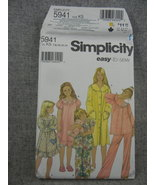 Girls Size 7-14 Pajamas, Nightgown and Robe  sleepwear Simplicity 5941 ... - $8.00