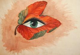 Vintage surrealist watercolor painting floral eye - $118.80