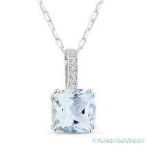 1.91 ct Cushion Cut Blue Topaz Gemstone Diamond Pendant Chain Necklace 14k Gold - $356.39