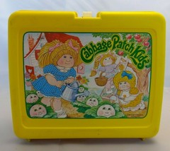 Vintage 1983 Cabbage Patch Doll yellow plastic collectible lunch box mad... - $19.79
