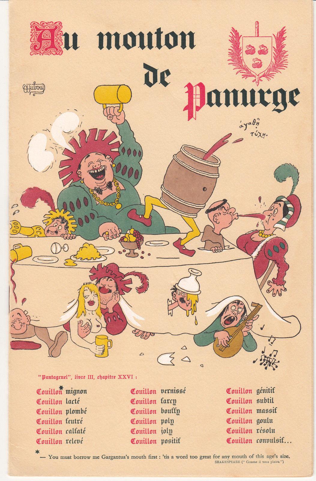 Au Mouton de Panurge Paris France Menu 1940's