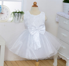 Pricess Lace White  Satin Short Flower Girl Dress 2018 O-Neck Party Gowns Bow  image 4