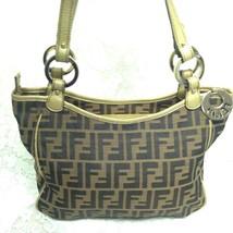 Authentic Fendi Italy, Zucca Monogram- Gold Leather Trim HandBag 11in x ... - $142.45