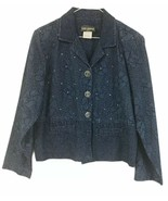 Saint Germain Petite Blue Blazer Size Large 100% Cotton 4 Button Sparkle - $27.22