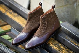 Handmade Men's Brown Leather & Tweed High Ankle Brogues Buttons Boots image 1