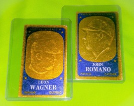VINTAGE MLB JOHN ROMANO LEON WAGNER 1965 TOPPS EMBOSSED 2 CARD LOT LOW BID - $1.42