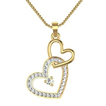 Double Heart Shape Pendant With Chain 14k Yellow Gold Fn 925 Silver Round Cut CZ - $48.99