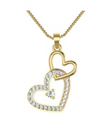 Double Heart Shape Pendant With Chain 14k Yellow Gold Fn 925 Silver Roun... - $48.99