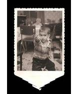 Polaroid Tab Vintage Photo Little Boy Beauitful Eyes Retro Kitchen Decor - $12.99