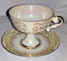 Vintage Ucagco Cyramics Japan Coffee Cup and Saucer Gold Leaf Vine ETVB - $6.02