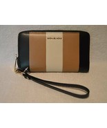 Michael Kors Multi Stripe Leather Jet Set Travel Phone Case Wallet Wrist... - $84.15