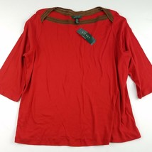 NEW Lauren Ralph Lauren Top Womens Size 3X Red 3/4 Sleeve Cotton Casual ... - $22.48