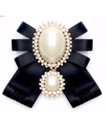 Black Or White Vintage Pearl Ladies Pre Tied Ribbon Bow Brooch Pin Or Ti... - $10.99