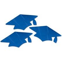 12 Metallic Blue Thin Plastic Grad Caps Cutouts  - $8.65