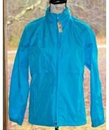 Woolrich Small Aqua Blue 100% Nylon Hidden Hood Rain Windbreaker Jacket ... - $24.93