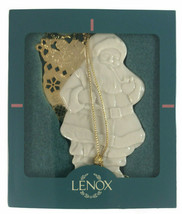 Vintage White Porcelain 1997 Lenox Christmas GD Santa with Gold Bag w/ box. - $19.75